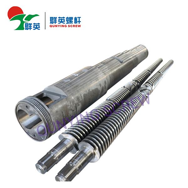 Barril de tornillo doble cónico bimetálico / nitrurado para el extrusor