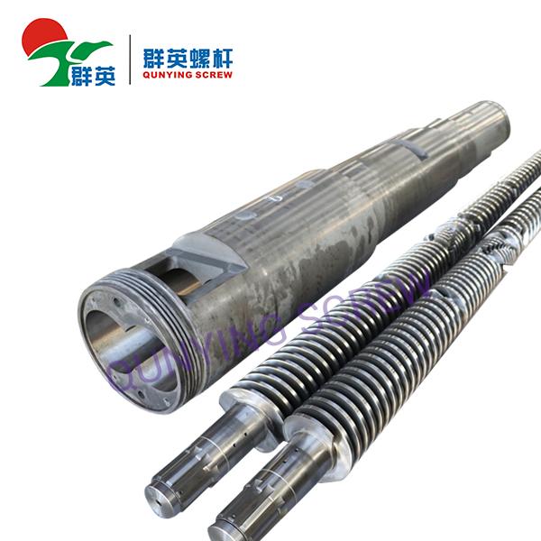 Barril y tornillo dobles cónicos bimetálicos de la máquina del extrusor plástico del PVC